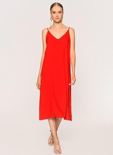 Loves You Askılı Midi Boy Viskon Elbise Kırmızı